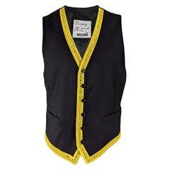 Moschino Vintage Mens Iconic Tape Measure Wool Vest Waistcoat