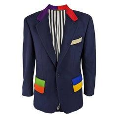Moschino Vintage Mens Multicolored Blazer Jacket, 1980s