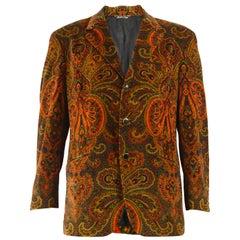 Moschino Vintage Men's Velvet Paisley Blazer Jacket, 1990s