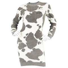 Moschino Vintage 'Muu..schino' Cow Print Fuzzy Knit White Sweater Dress, 1980s