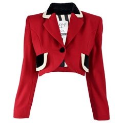 Moschino Vintage Red Crepe Crop Jacket