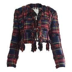 Moschino Vintage Ruffled Tartan Wool Plaid Check Womens Blazer Jacket, A/W 1993