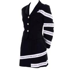 Moschino Vintage Skirt & Blazer Suit W White Ribbon Philosopher Word Banners