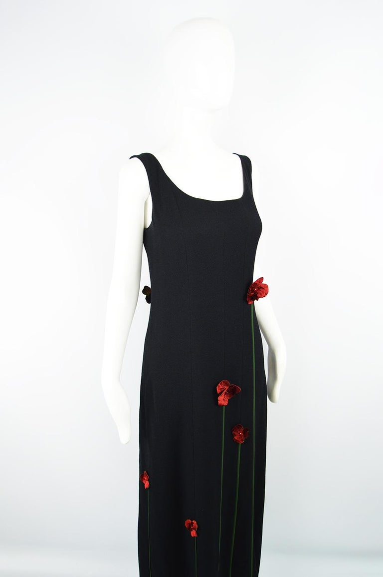 Moschino Vintage Tulip Applique Black Crepe Sleeveless Maxi Evening Dress, 1990s For Sale 1