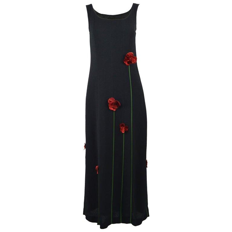 Moschino Vintage Tulip Applique Black Crepe Sleeveless Maxi Evening Dress, 1990s For Sale
