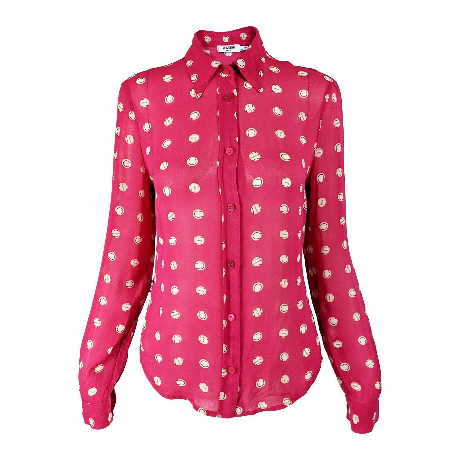 Moschino Vintage Womens Pink Baseball Print Blouse