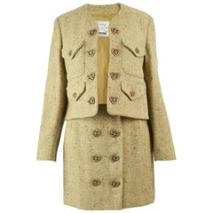 Moschino Vintage Wool Tweed 2 Piece Jacket & Skirt Suit with Heart Button, 1990s