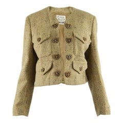 Moschino Vintage Wool Tweed Edge to Edge Jacket with Love Heart Button, 1990s