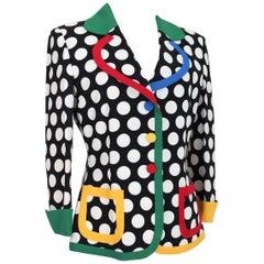 Moschino White Black Polka Dot Flared Women Jacket Blazer 1990s