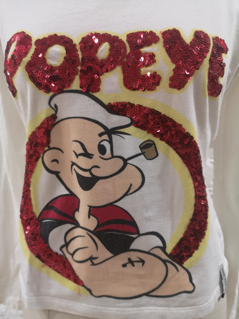 Moschino white cotton red sequins Popeye t-shirt white long sleeves t-shirt totally made in italy in size 44 embellished with red sequins total lenght 51 cm shoulder to hem 56 cm