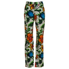 Moschino white flowers cotton pants