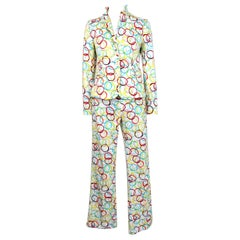 Moschino White Multicolor Cotton Psychedelic Suit Pants