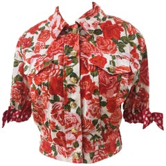 Moschino white red roses cotton jacket