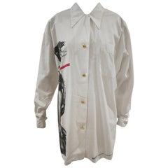Moschino White Sculputre Print Cotton Shirt
