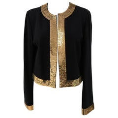 Moschino Wool Black Jacket Gold Sequins
