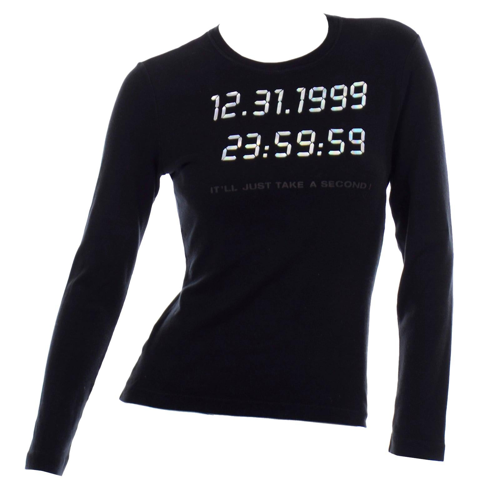 Moschino  Y2K Vintage Top 12 31 1999 Only Take a Second Black Long Sleeve Shirt