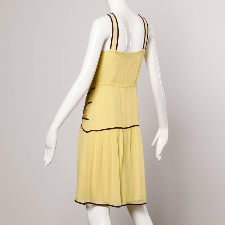 Moschino Yellow Silk Patchwork Vintage 1920s-Inspired Flapper Dress In Excellent Condition For Sale In Sparks, NV