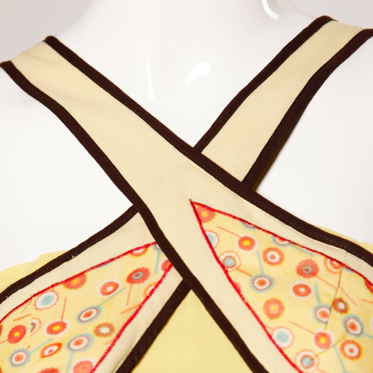 Moschino Yellow Silk Patchwork Vintage 1920s-Inspired Flapper Dress For Sale 1