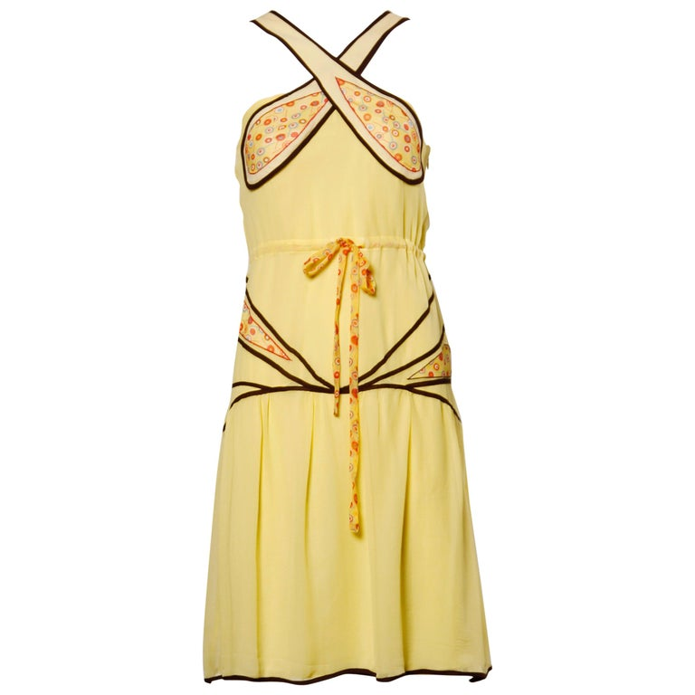 Moschino Yellow Silk Patchwork Vintage 1920s-Inspired Flapper Dress For Sale