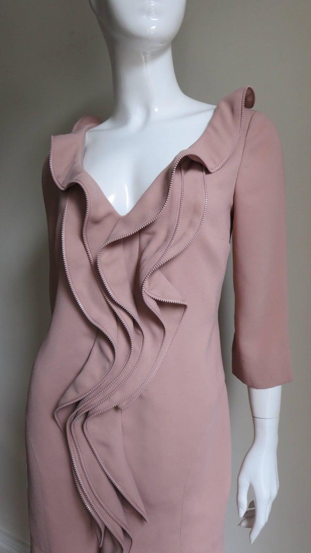 Brown Moschino Zipper Edged Ruffle Dress For Sale
