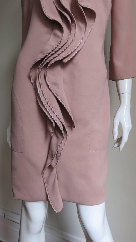 Women's Moschino Zipper Edged Ruffle Dress For Sale