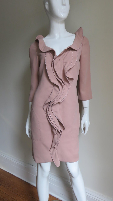 Moschino Zipper Edged Ruffle Dress For Sale 1