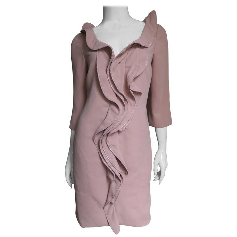 Moschino Zipper Edged Ruffle Dress For Sale