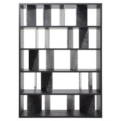 Moscova Bookcase, Black Ashwood and Carnic Grey Marble, Andrea Morgante