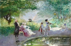 Elegantes in a Park - 19th Century Oil, Figures in Landscape by Mose Bianchi