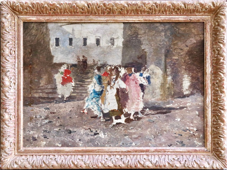 Figures in a Square - 19th Century Oil by Mose di Giosue Bianchi For Sale 1