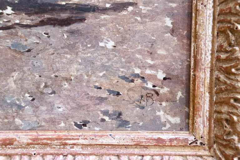 Figures in a Square - 19th Century Oil by Mose di Giosue Bianchi For Sale 2