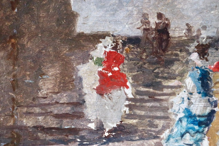 Figures in a Square - 19th Century Oil by Mose di Giosue Bianchi For Sale 3