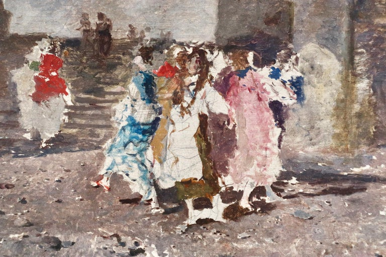 Figures in a Square - 19th Century Oil by Mose di Giosue Bianchi For Sale 4