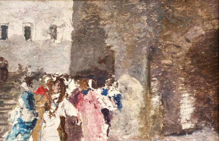 Figures in a Square - 19th Century Oil by Mose di Giosue Bianchi For Sale 5