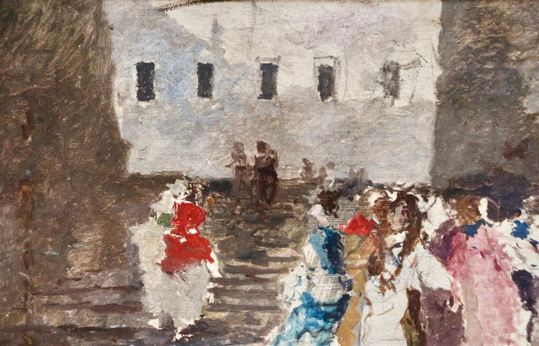 Figures in a Square - 19th Century Oil by Mose di Giosue Bianchi For Sale 6