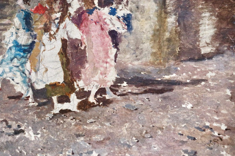 Figures in a Square - 19th Century Oil by Mose di Giosue Bianchi For Sale 8