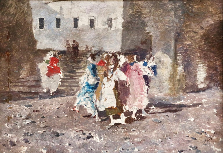 Oil on canvas circa 1880 by Mosè di Giosuè Bianchi depicting revellers in a village square. Signed lower right. Framed dimensions are 18.5 inches high by 24.5 inches wide.  Painter (including mixed media), watercolourist, engraver, draughtsman.