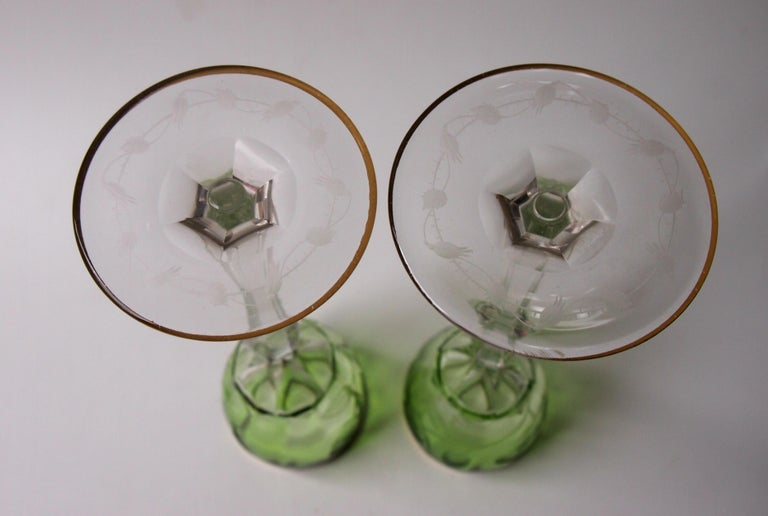 Moser Bohemian Art Nouveau Hand Cut 'Roses' Pattern Decanter and Two Glasses For Sale 6