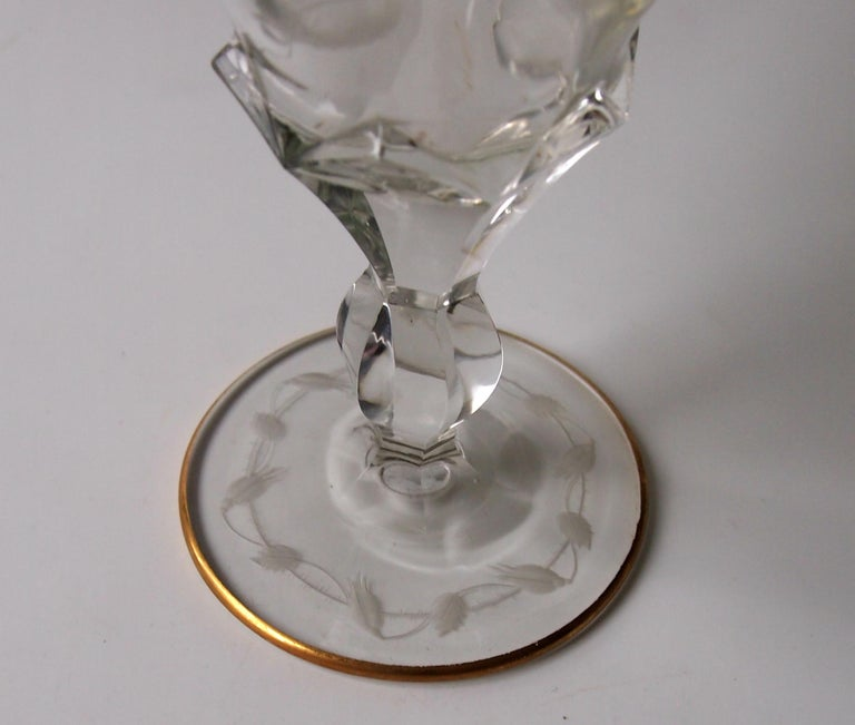 Moser Bohemian Art Nouveau Hand Cut 'Roses' Pattern Decanter and Two Glasses In Good Condition For Sale In London, GB