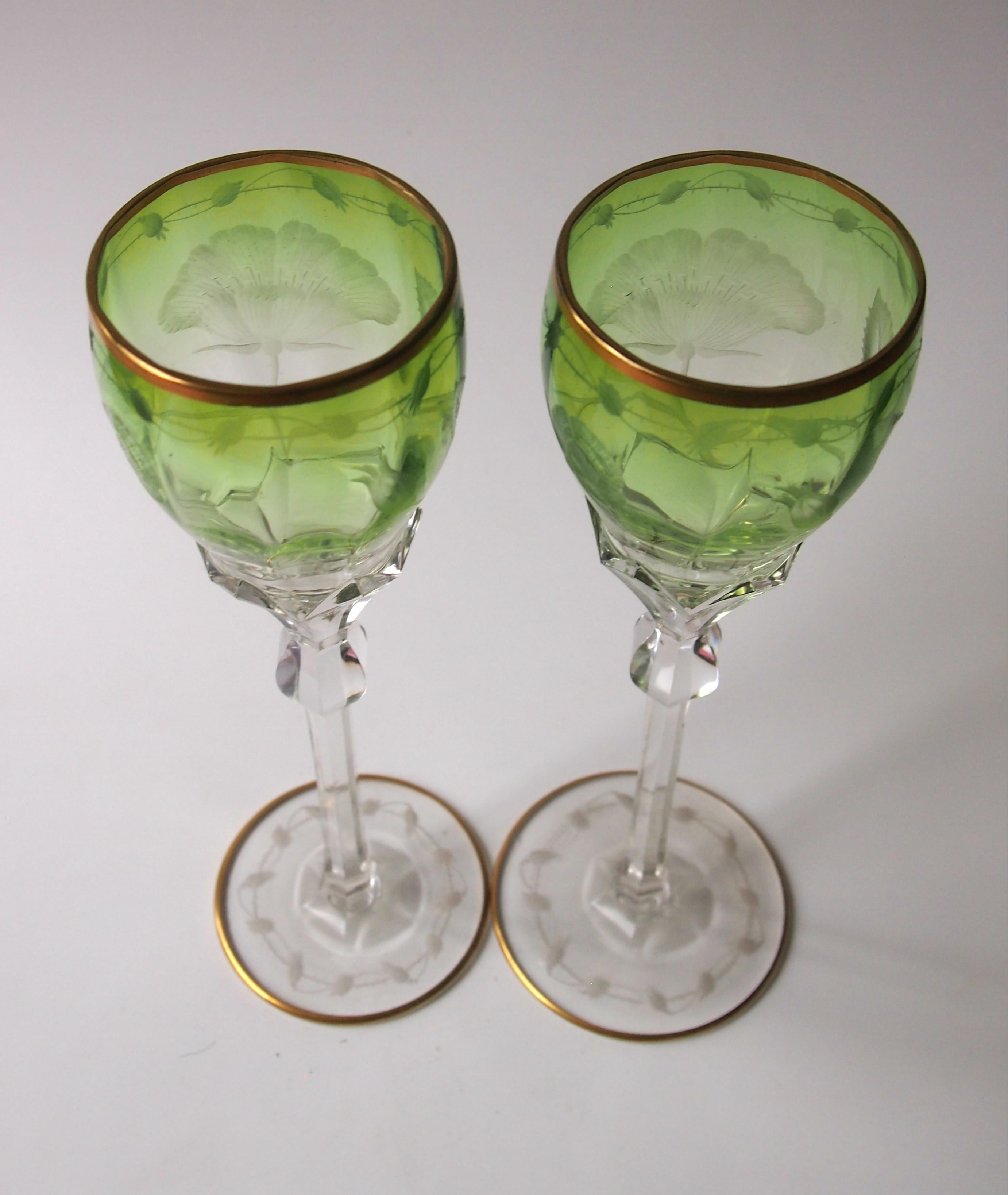 Strikingly Decorative And Unusual Harlequin Cut Crystal Wine Glass Signed Moser Art Glass