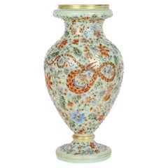 Moser Attributed Enamel Snake Decorated Opalescent Glass Vase