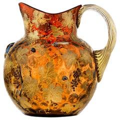 Moser Cranberry Glass Pitcher