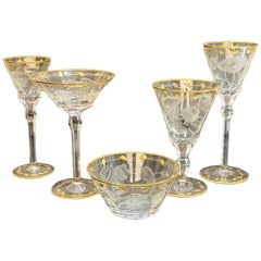 Moser Cut Glass and Gilt Drink-Ware Service Goblets in Paula Service for 6
