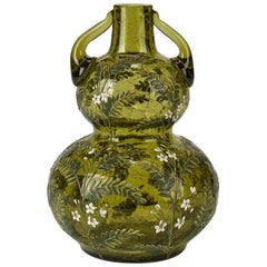 Moser Floral Enameled Green Crackle Glass Vase, 19th Century