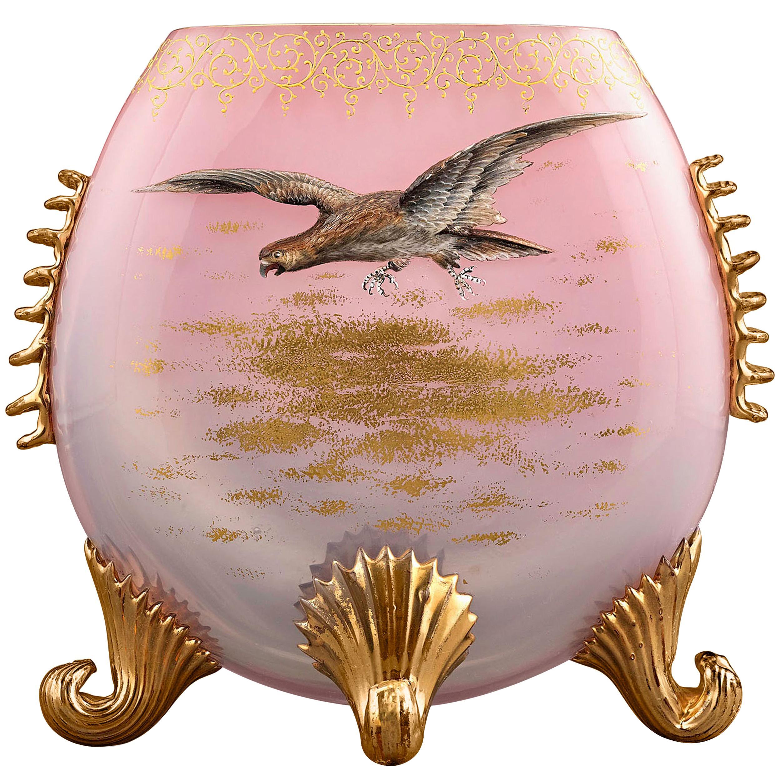 Moser Pink Glass Pillow Vase
