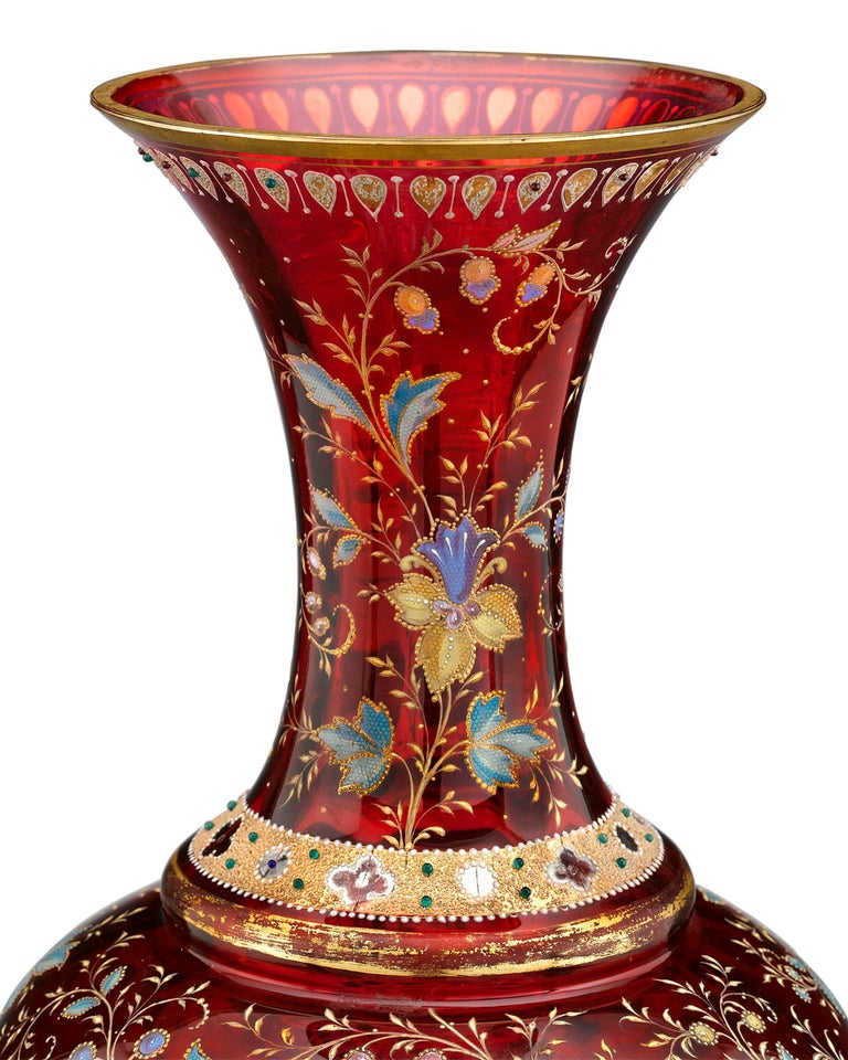 Bohemian Moser Ruby Glass Vase For Sale
