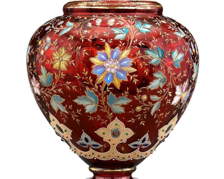 Austrian Moser Ruby Glass Vase For Sale