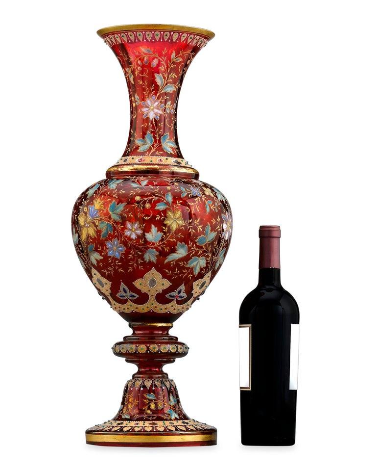Gilt Moser Ruby Glass Vase For Sale