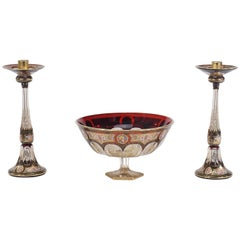 Moser Three-Piece Centrepiece in Ruby Red, Hand-Painted Enamel and Gold