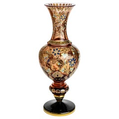 Moser Unique Hand Painted Decorated with 24-Karat Gold Vase